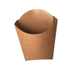 Kraft/PE coated frites scoop cup 90x132x130mm