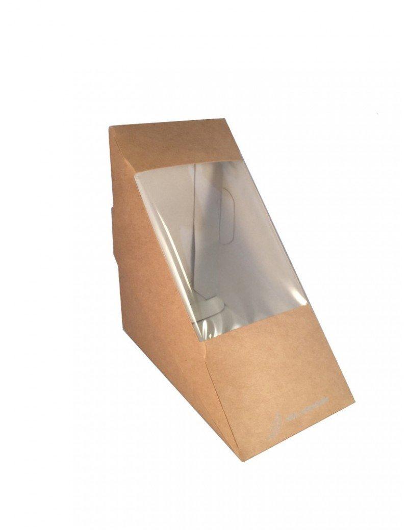 Kraft/PLA sandwichbox 123x123x72mm