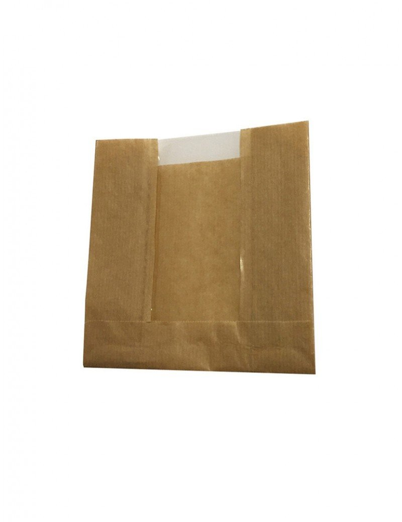 Kraft/PLA vensterzak 14,5x13,5x(2x3,5)cm