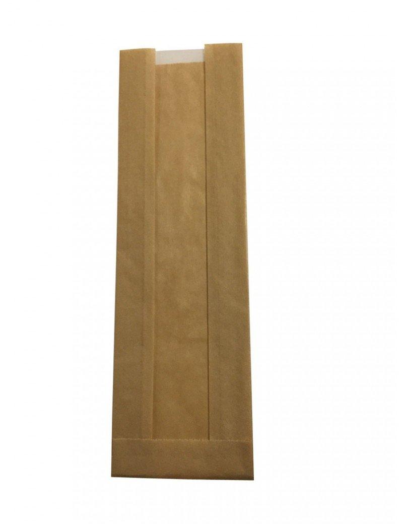 Kraft/PLA vensterzak 10x32,5x(2x3)cm
