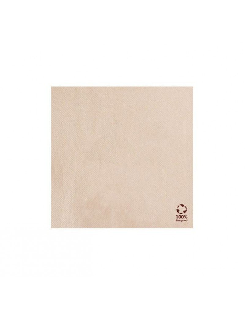Servet gerecycled/ongebleekt 20x20cm ¼ vouw double point