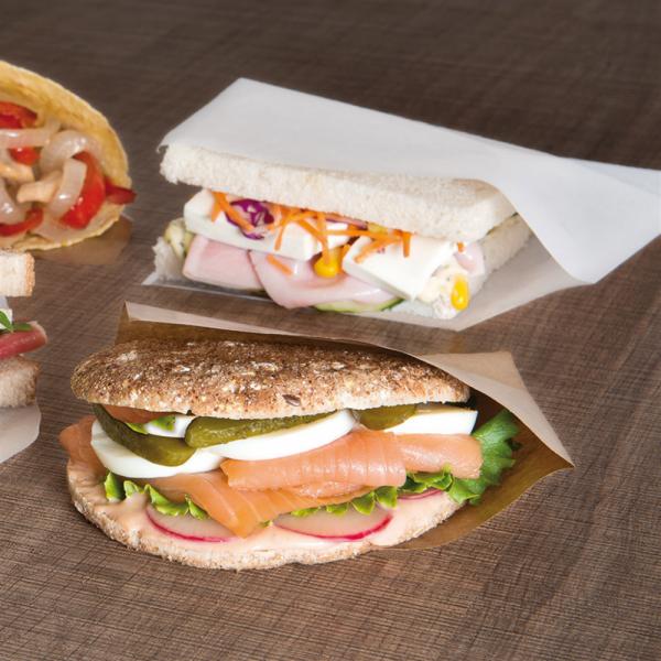 Sandwich zakje, 2 kanten open wit, 18 bij 18,2 cm broodjes (1)