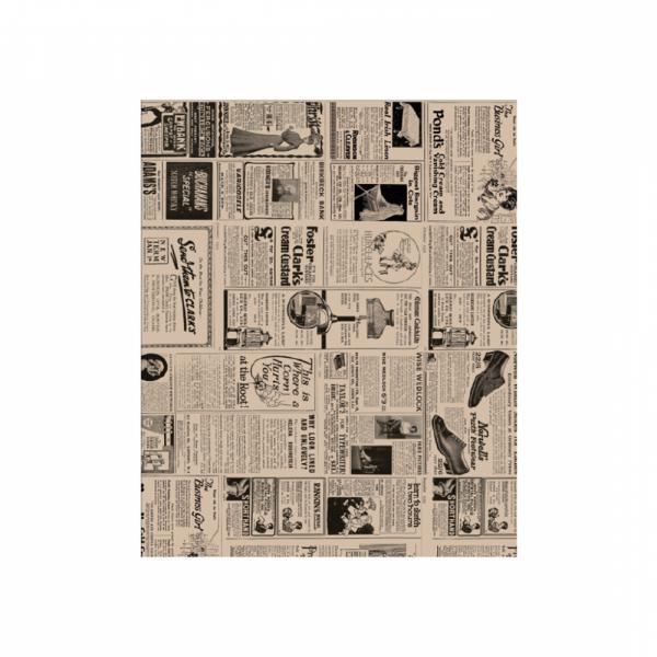 Vetvrij wikkelpapier bruin krant 28x34cm