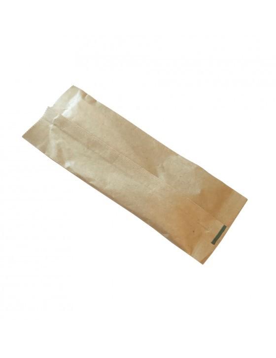 Houten bestekset in bruin kraft zakje