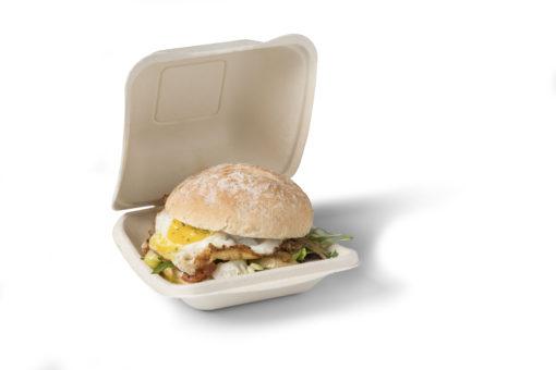 BioPack Clam shell BIOdisposables met hamburger