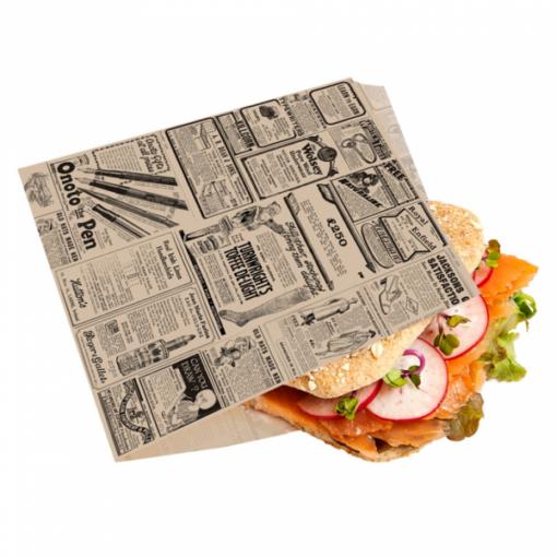 Vetvrij snackzakje krant bruin 16 bij 16,5 cm met broodje