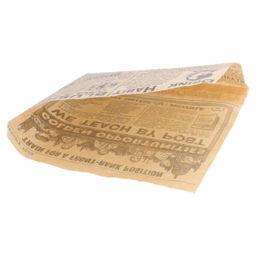 Vetvrij snackzakje krant bruin 16 bij 16,5 cm open