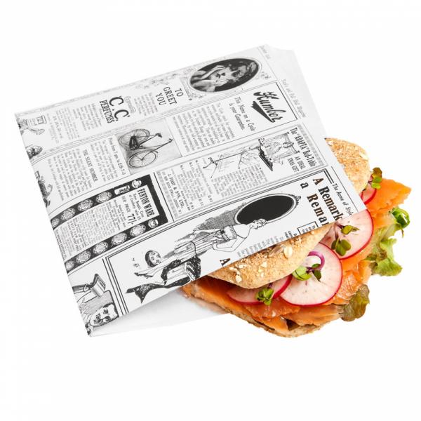 Vetvrij snackzakje krant wit 16 bij 16,5 cm met broodje (1)