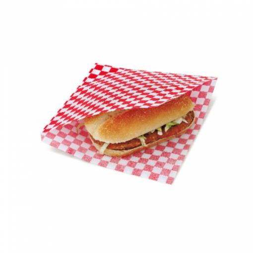 Vetvrij snackzakje rood wit blok 16 bij 16,5 cm met hamburger