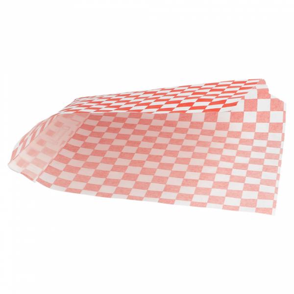 Vetvrij snackzakje rood wit blok 16 bij 16,5 cm open