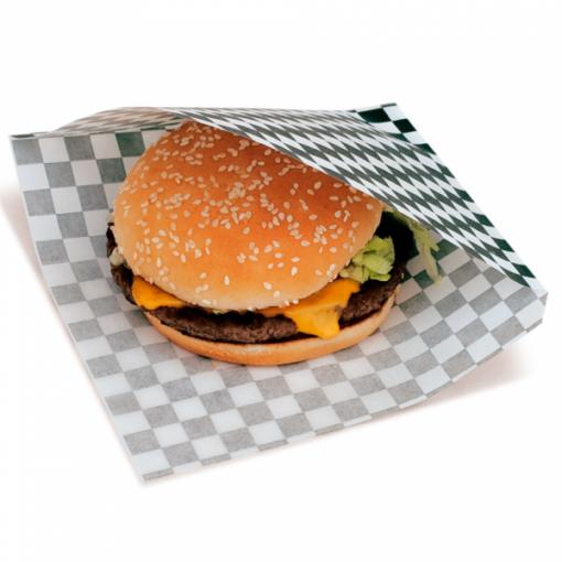 Vetvrij snackzakje zwart wit blok 16 bij 16,5 cm met hamburger