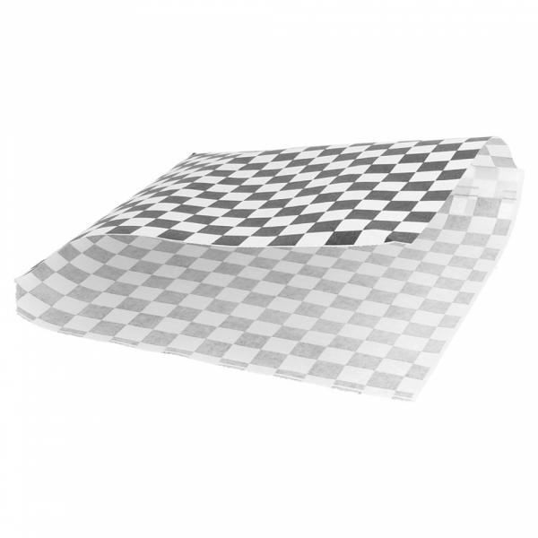 Vetvrij snackzakje zwart wit blok 16 bij 16,5 cm open