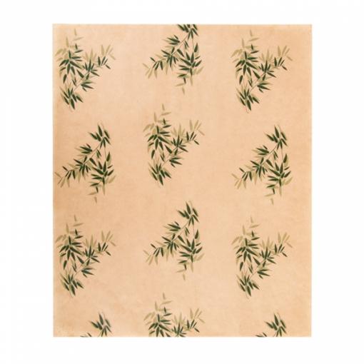 Vetvrij wikkelpapier bruin met bladmotief 28x34cm
