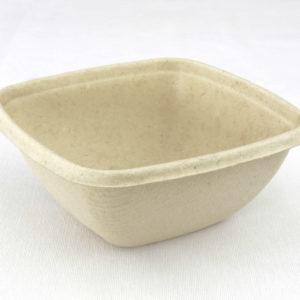 Vierkante saladebowl ongebleekt suikerriet 375 ml