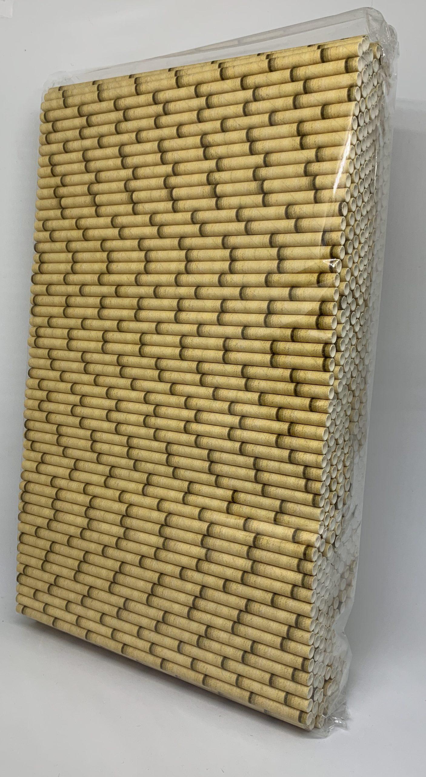 Bamboe geel papieren rietjes, 6 mm doorsnede en 20 cm lang zak
