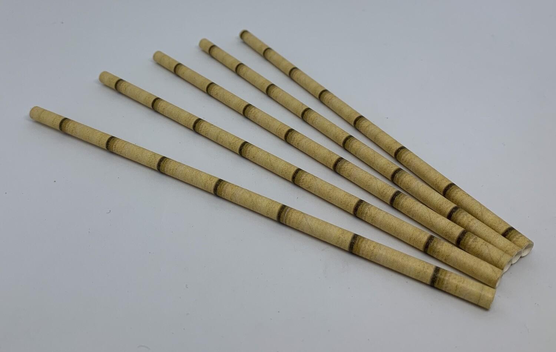 Bamboe geel papieren rietjes, 6 mm doorsnede en 20 cm lang