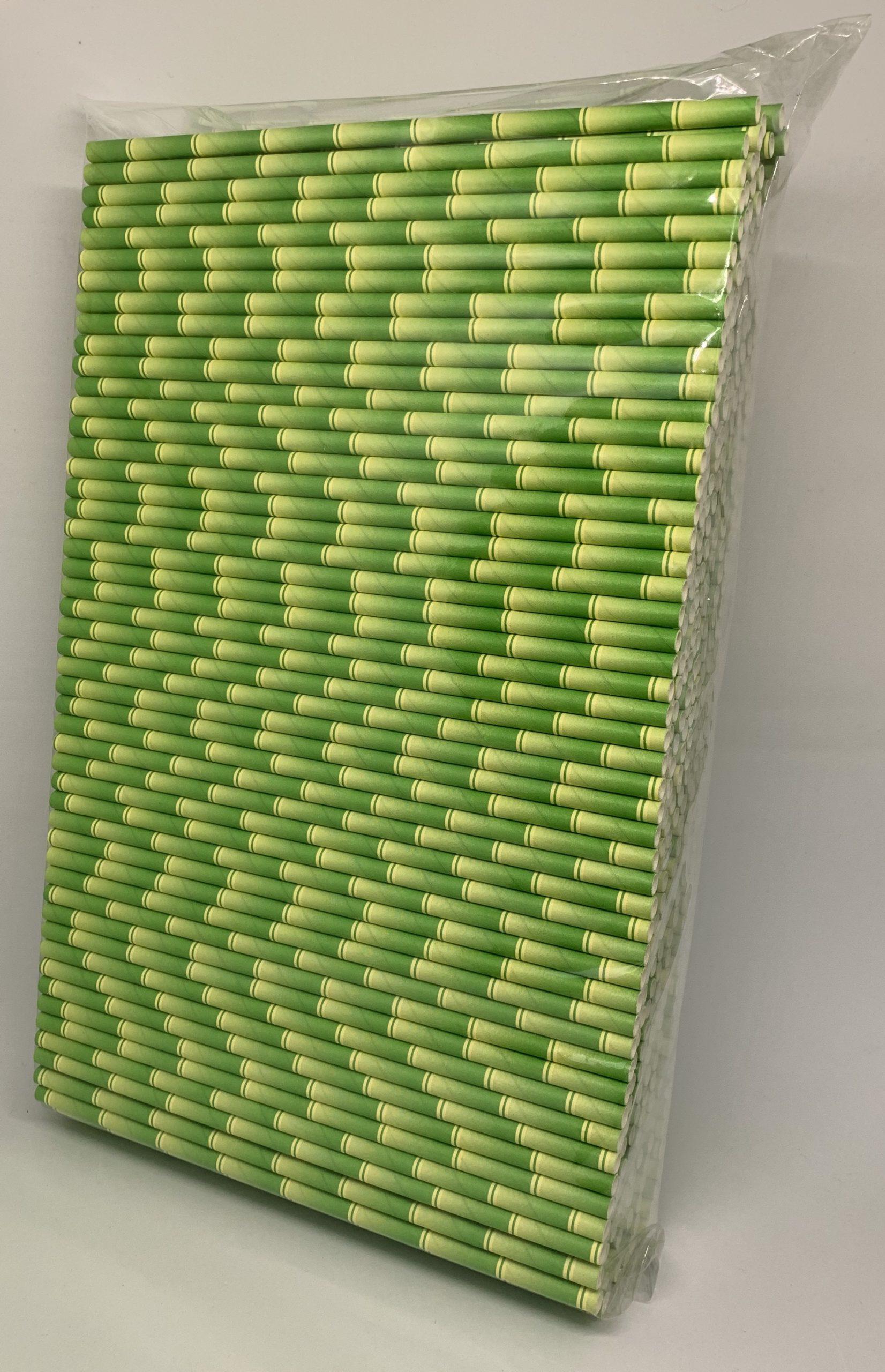 Bamboe groen papieren rietjes, 6 mm doorsnede en 20 cm lang zak