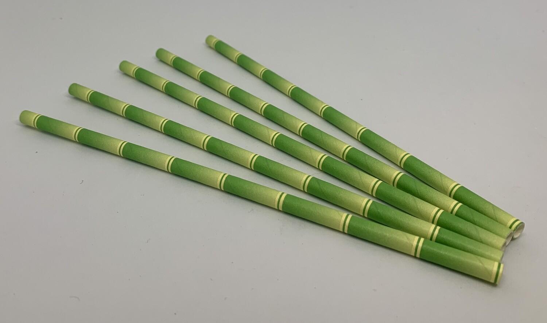 Bamboe groen papieren rietjes, 6 mm doorsnede en 20 cm lang