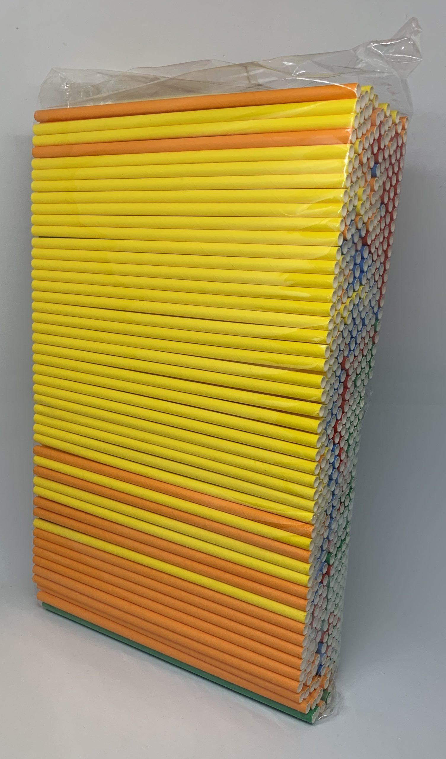 Kleurenmix papieren rietjes, 6 mm doorsnede en 20 cm lang zak