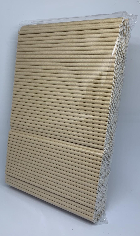 Kraft papieren rietjes, 6 mm doorsnede en 20 cm lang zak