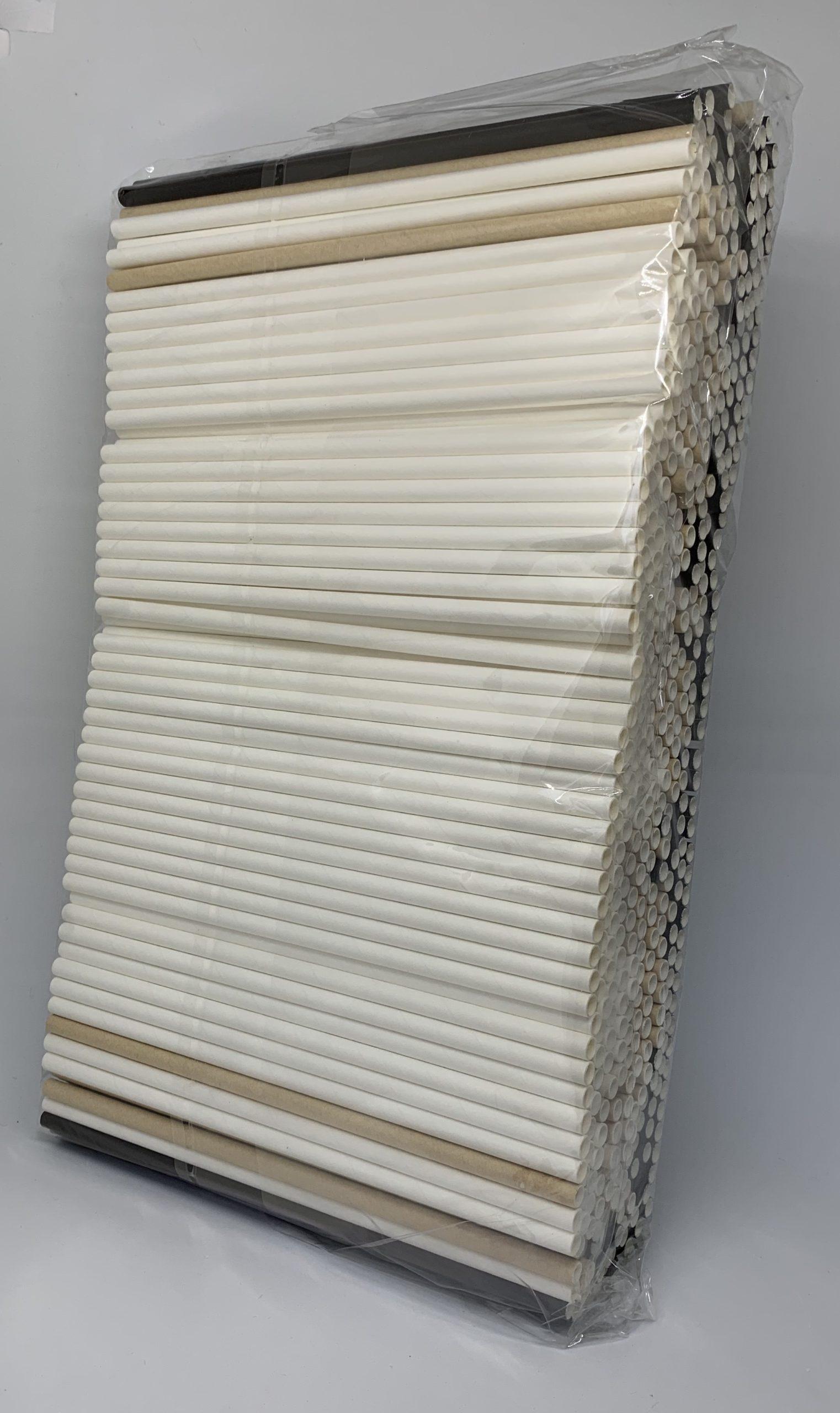 Kraft, wit, zwart mix papieren rietjes, 6 mm doorsnede en 20 cm lang zak