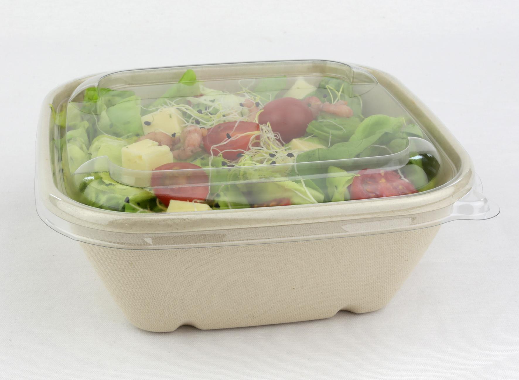 Vierkante saladebowl ongebleekt suikerriet 1000 ml met deksel