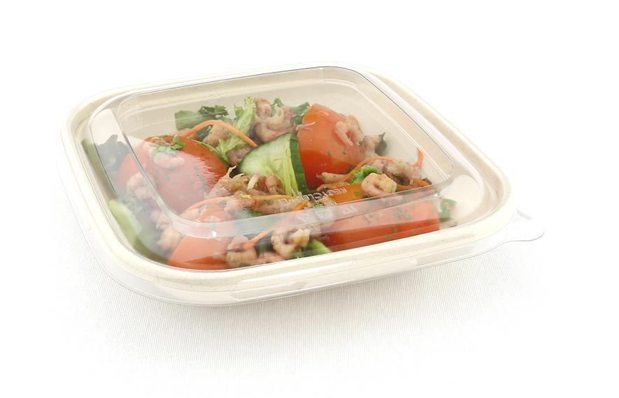 Vierkante saladebowl ongebleekt suikerriet 500 ml met deksel