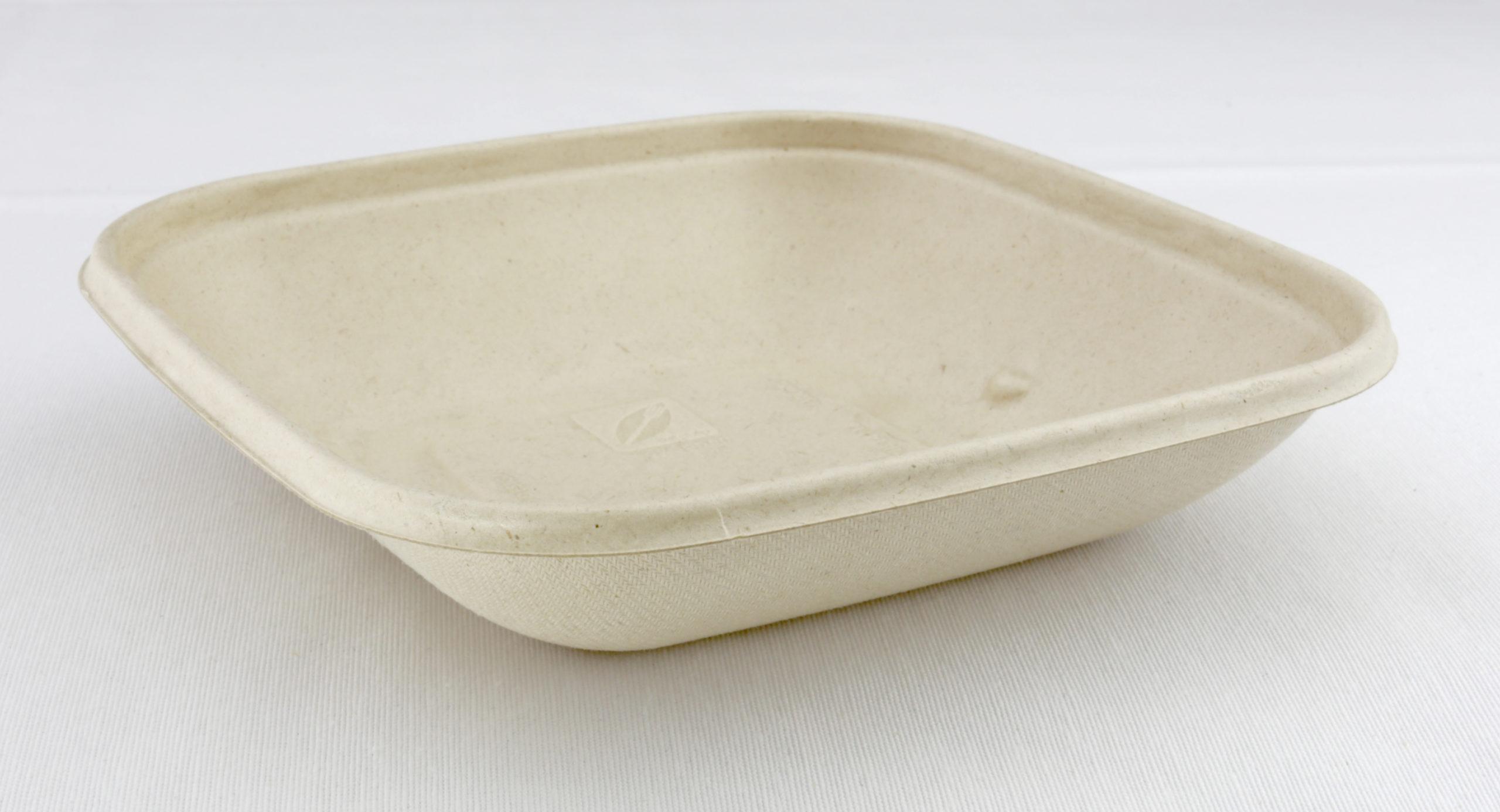 Vierkante saladebowl ongebleekt suikerriet 500 ml