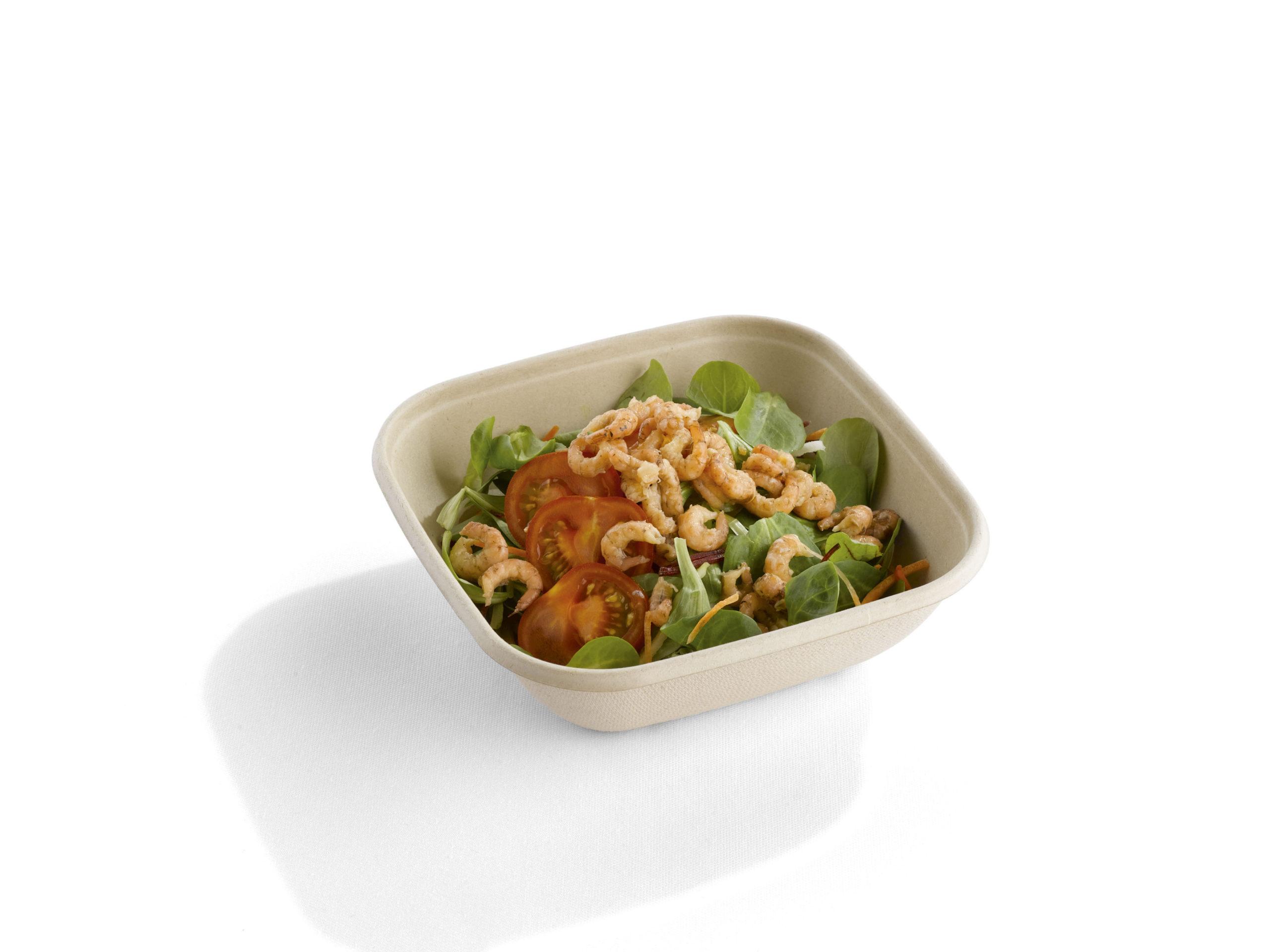 Vierkante saladebowl ongebleekt suikerriet 750 ml gevuld