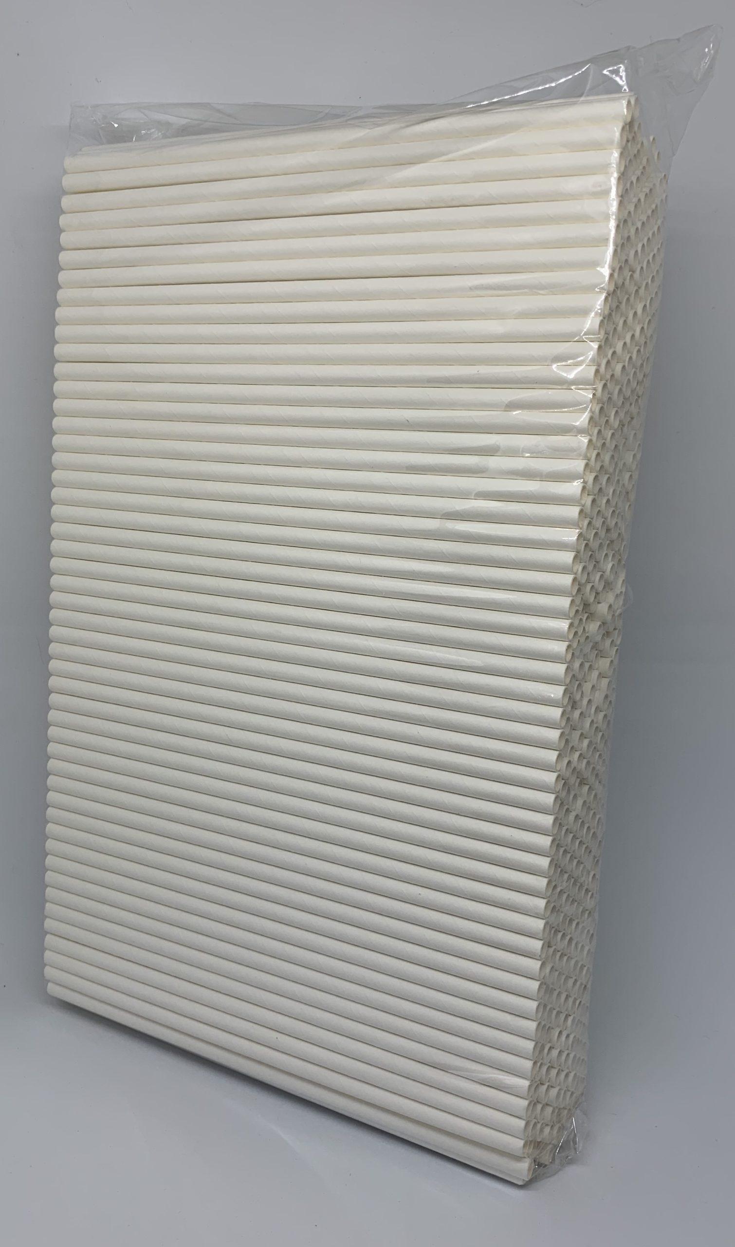 Witte papieren rietjes, 6 mm doorsnede en 20 cm lang zak