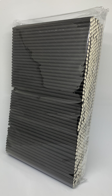 Zwarte papieren rietjes, 6 mm doorsnede en 20 cm lang zak