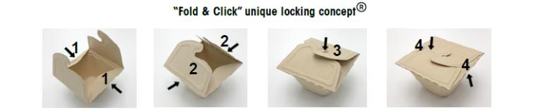 Innovatief 'vouw en click' systeem van Sabert