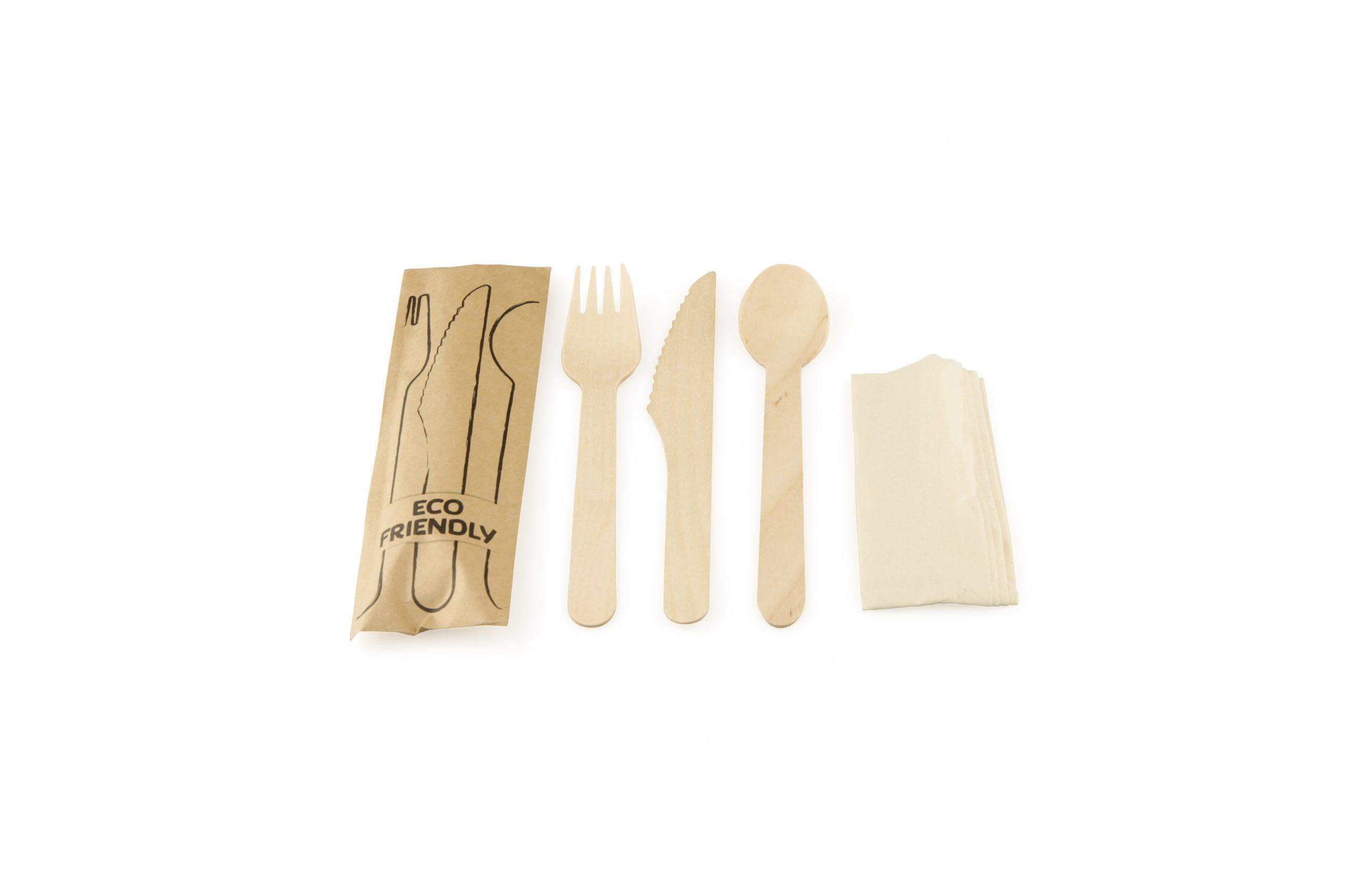 Bestekset vork mes lepel FSC® hout Sier Disposables