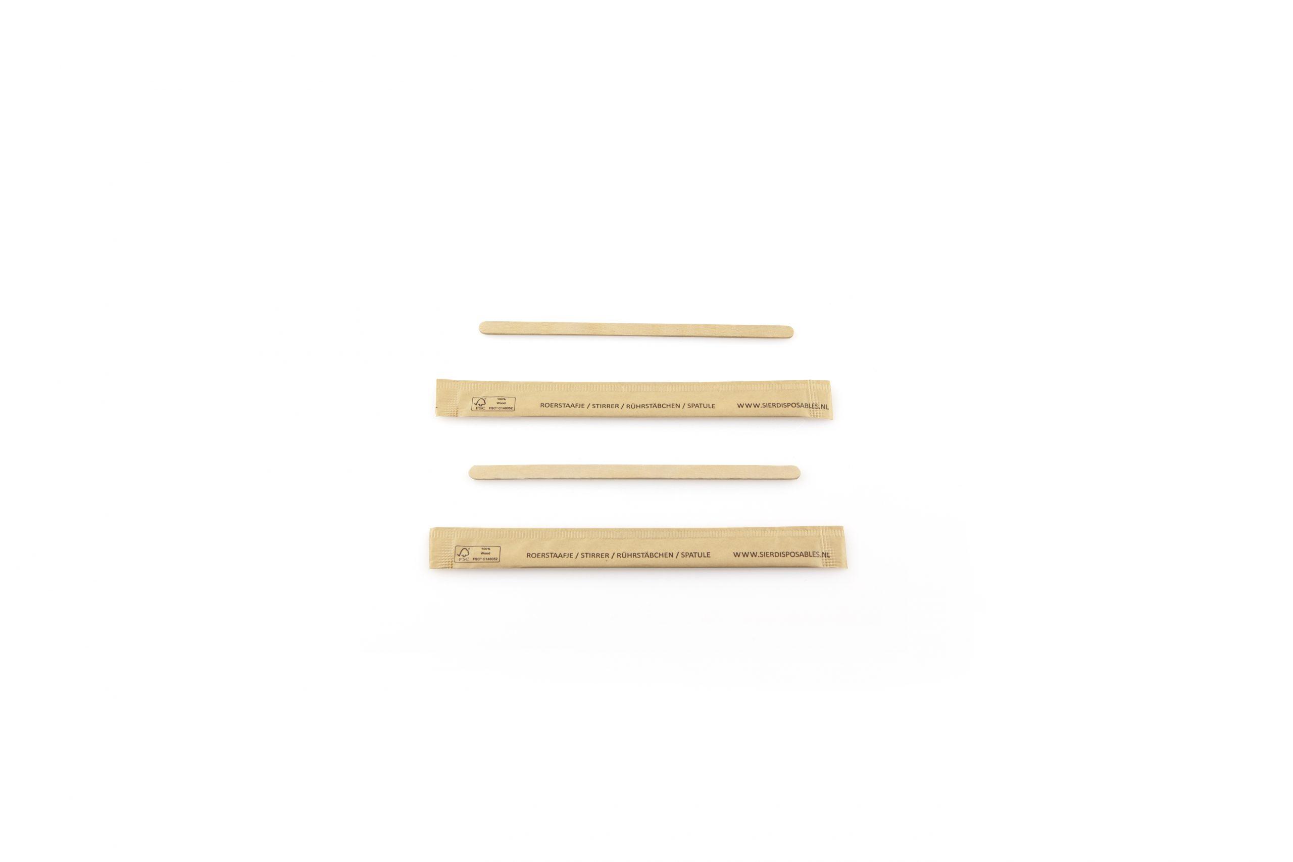 Roerstaafje hout 110 mm (FSC®) per stuk verpakt