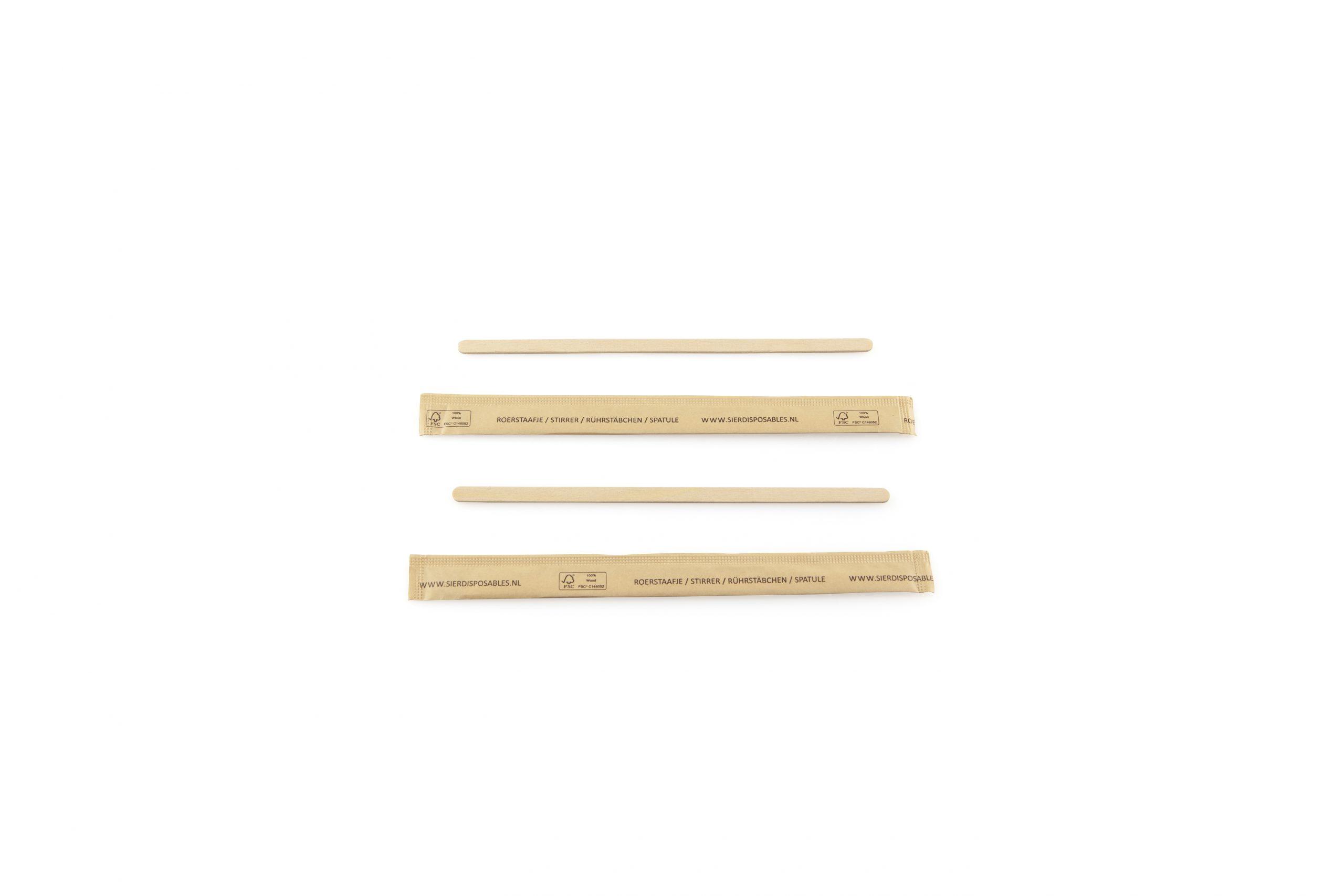 Roerstaafje hout 140 mm (FSC®) per stuk verpakt