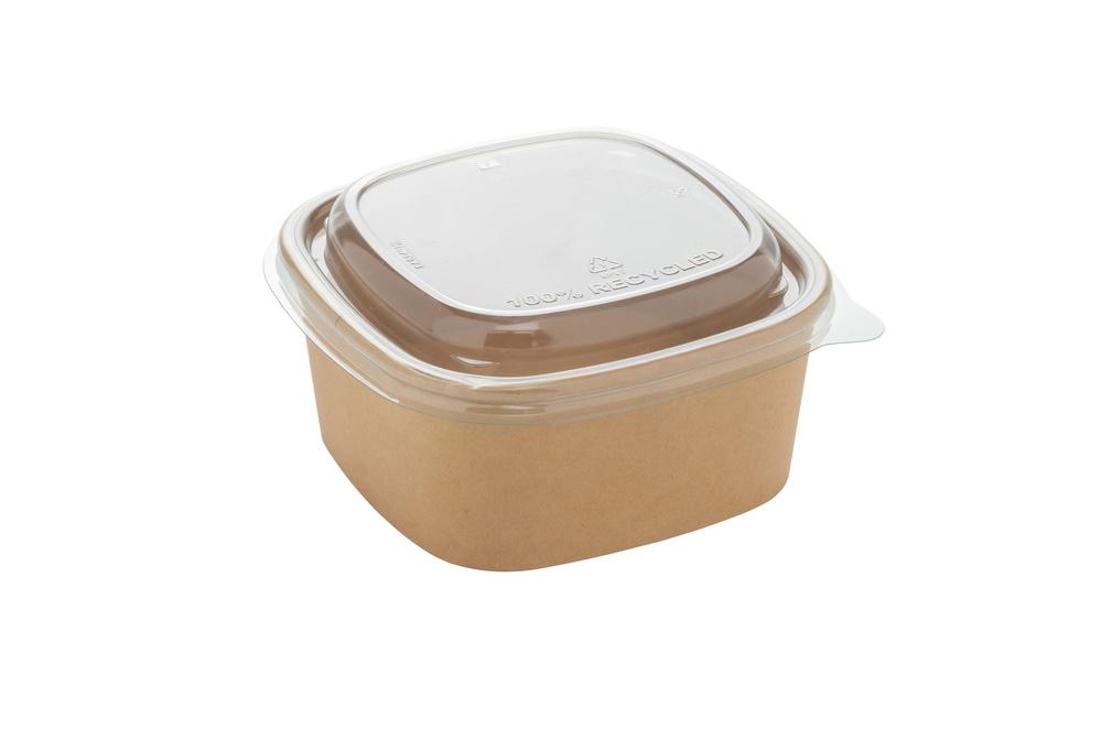 Deksel voor vierkante saladebak kraft 400 ml en 600 ml 13 bij 13 cm 1,8 cm hoog