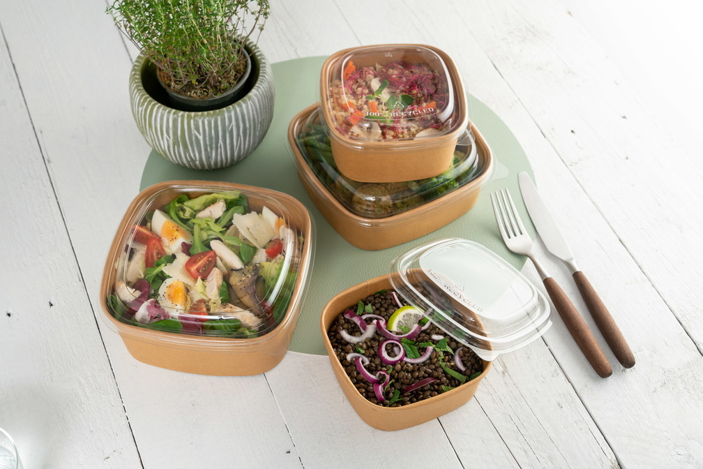Vierkante saladebak kraft Sabert collectie foto takaway