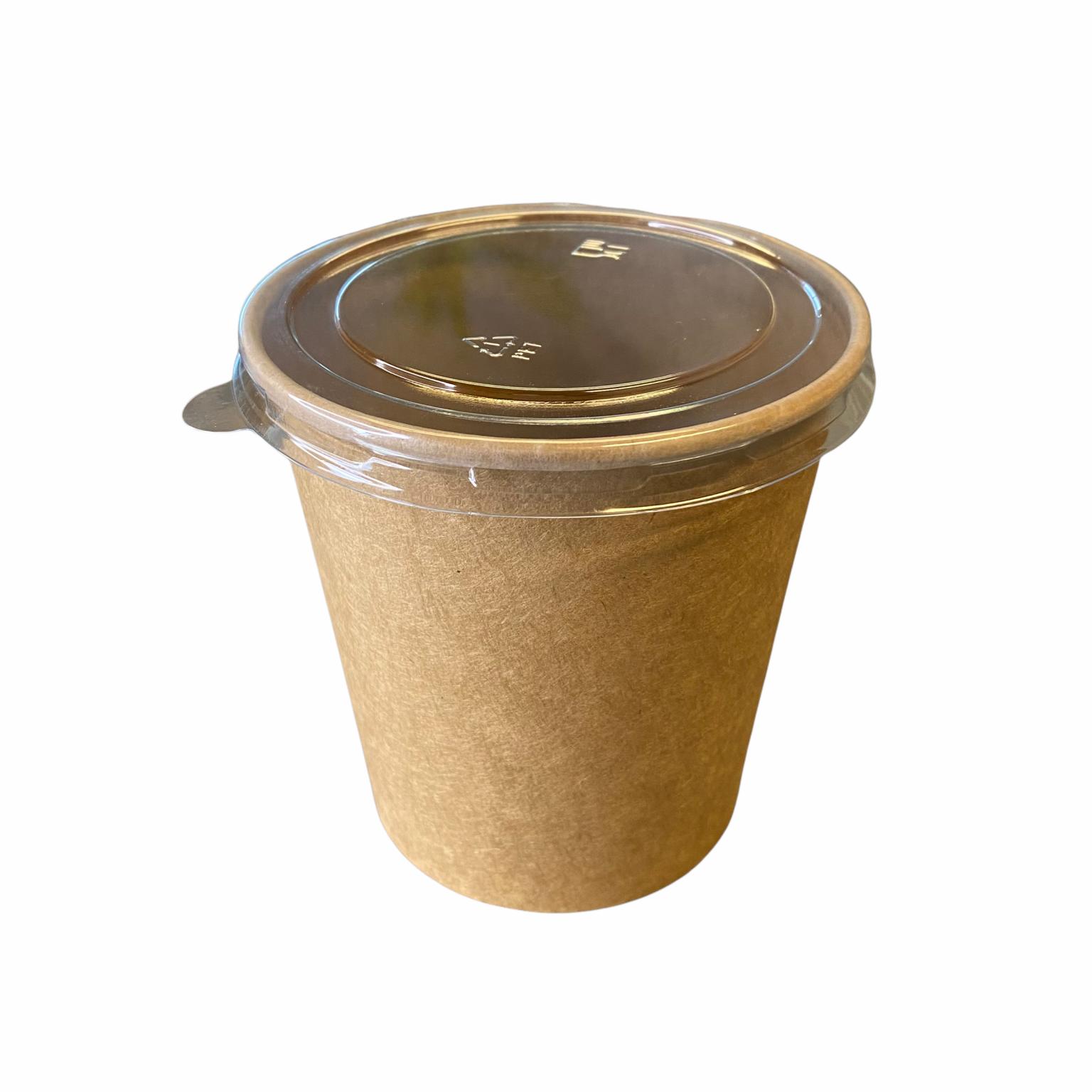 PET platte deksel voor soepbeker 480 ml met soepbeker